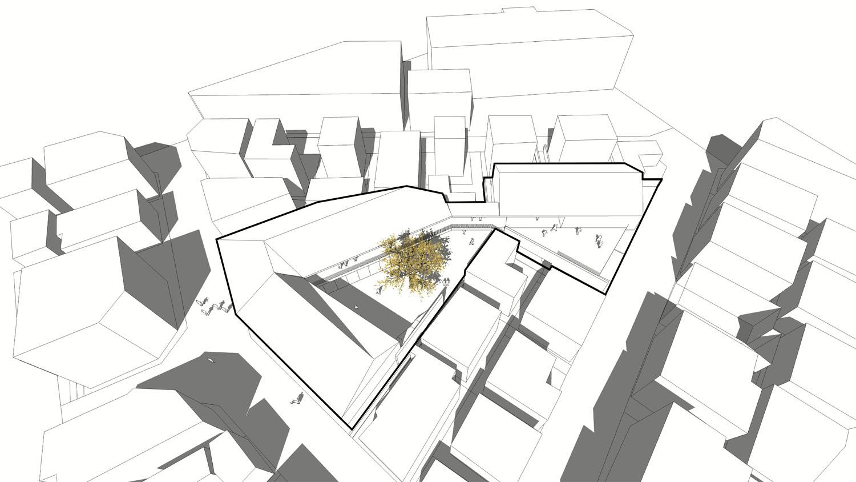 주민마당과 2층의 정자목 데크는 회랑으로 연결되며 입체적 인 동선으로 다양한 접촉을 가능하게 한다